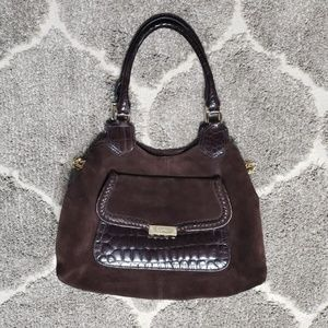Cole Haan Dark Brown Lily Suede and Leather Hobo B